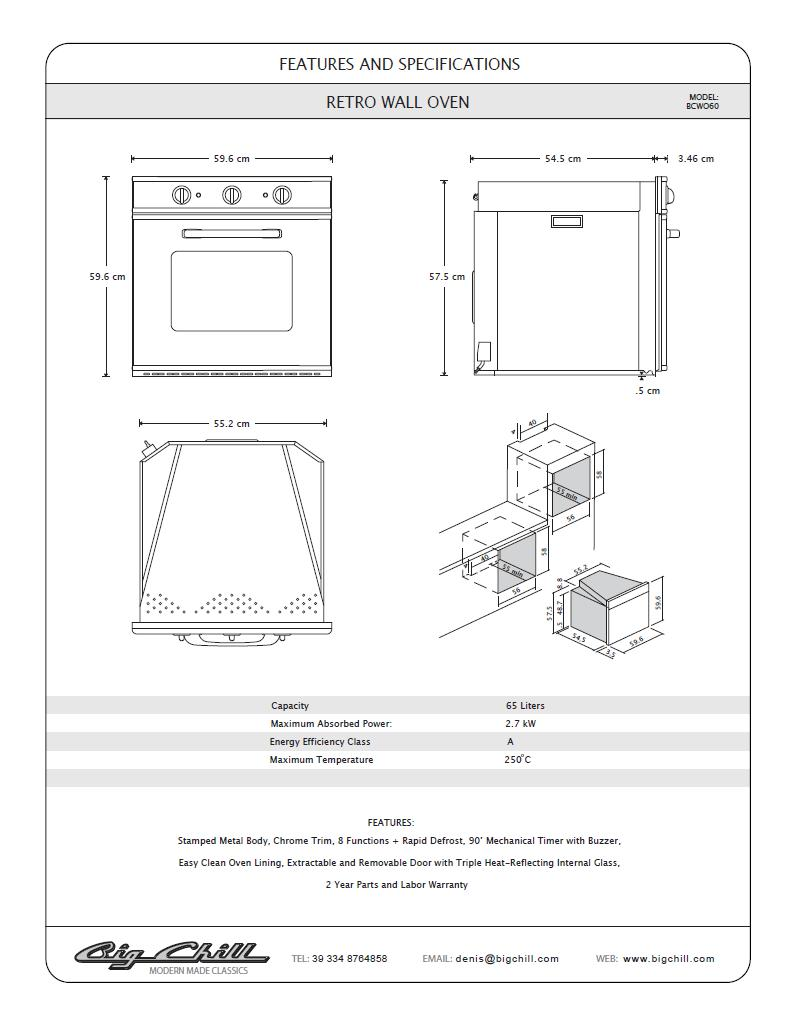 Euro-electric-wall-oven-line-drawing